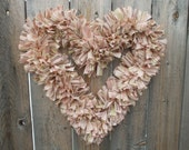 Shabby Chic Heart Rag Wreath Pink Brown Green Homespun Cotton Fabric by Buggy Barn
