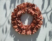 Warm Red Gingham Check Small Rag Wreath,  Homespun fabric,Fall Autumn Decor Rustic Wreath, Available with burlap
