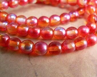 Red Orange Czech Glass Beads Round Druk AB Yellow Tangerine 6mm (25)