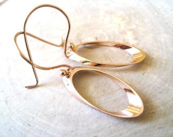 Rose gold earrings Oval drops geometric jewelry Modern pink gold by Vitrine