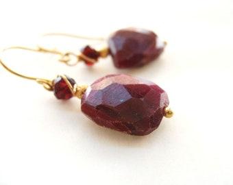 Burgundy Ruby earrings garnet earrings Oxblood fashion Gift for her Under 100
