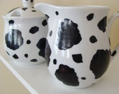 Cow Cream and Sugar Set cow print black and white tea coffee dairy farm animals serving setcountry  Hand Painted