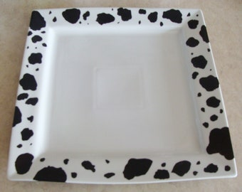 Cow Platter, Square, Cow Print, Farm, Country decor,  Hand Painted