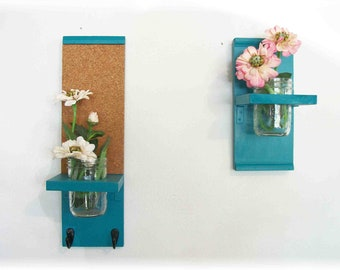 Two handmade unique colorful Kitchen or Bathroom Shelves.  Wall Mason Jar Shelf &  Message Cork Board Center in Deep Turquoise