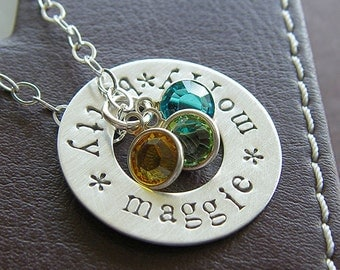 Washer Necklace - Custom Sterling Silver Hand Stamped Washer Necklace with Birthstone and Pearl