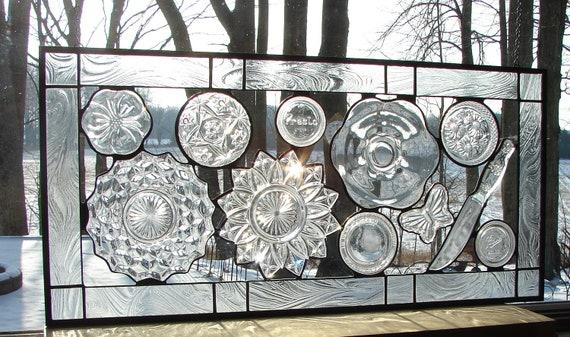 Grandma's Kitchen unique window panel collage art