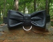 Black Leather Bow Tie With D Ring (JWL 112)