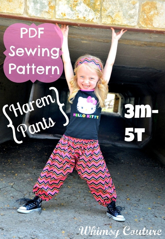 Whimsy Couture Sewing Pattern/Tutorial ebook HAREM Pants 3m through 5t PDF