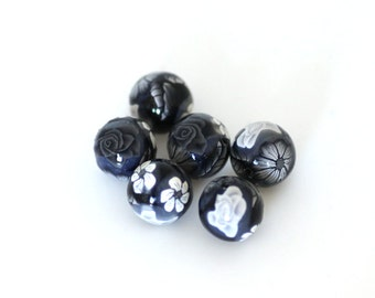 Polymer Clay Beads, Black and White Beads, Round Bead Set 901