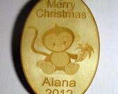 Wooden ornament - Personalized wooden Christmas monkey 2015 ornament
