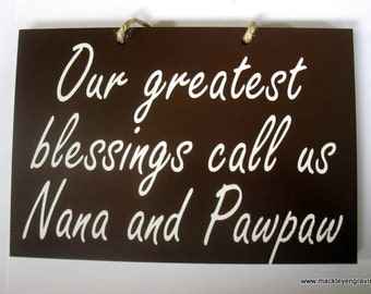 Grandparents greatest blessing painted wooden sign
