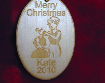Christmas Ornament - Personalized wooden hairdresser christmas ornament
