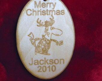 Personalized wooden hunter christmas ornament or tag