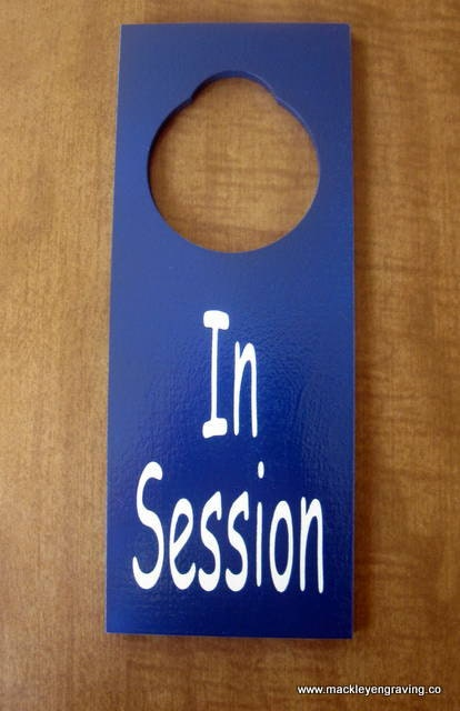 in session painted wooden door knob hanger sign