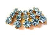 5 Swarovski vintage jewelry findings 3 rhinestone crystals in brass setting, light blue