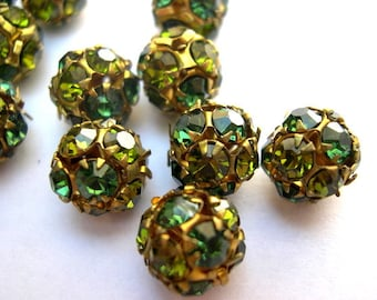 2 Vintage Swarovski crystal ball beads 10mm in brass setting 2 green shades, UNIQUE