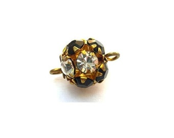 2 Vintage SWAROVSKI connector BEADS 11mm crystal black with clear rhinestones in brass setting- RARE