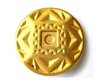 Button, gold color metal button etched ornament 40mm, 5mm thick