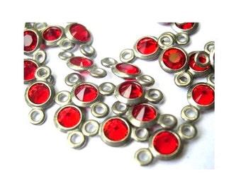 10 Vintage channel Swarovski connector beads 2 self loops red in silver color metal