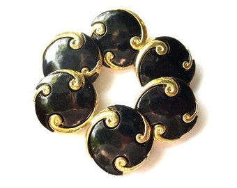 6 Buttons, black with gold color ornament, 25mm, vintage, for buttons jewelry, sewing, crafts and more