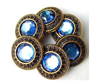 SALE-100  Vintage button,  plastic, button jewel with blue rhinestone, proper for button jewelry, 21mm