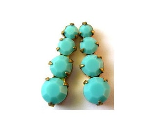 2 Swarovski vintage jewelry finding 4 opaque turquoise crystals in brass setting