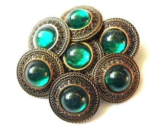 6 Vintage buttons, plastic button jewel with green rhinestone, suitable for button jewelry, 26mm