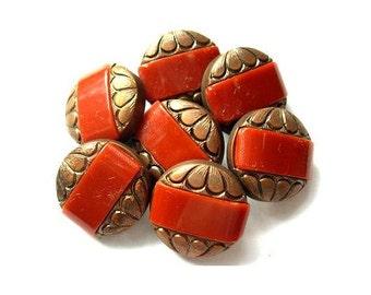 6 Antique vintage buttons, bronze color plastic buttons with trim 18mm beautiful buttons