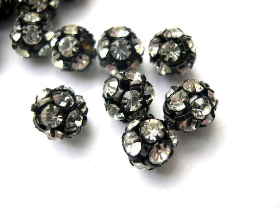 2 Vintage SWAROVSKI BEADS crystal ball 8mm, clear crystal in black metal setting