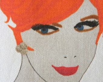 madmen red head mid century print on canvas