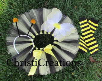 Baby Girl Halloween Costume - Bumble Bee Tutu Costume - Yellow and Black - Wings, Antennas, Leg Warmers
