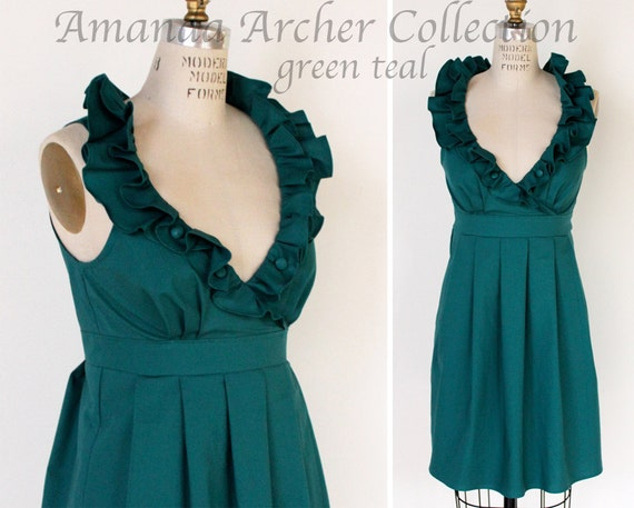 RESERVED for AMANDA green teal bridesmaid dress 2/17/13