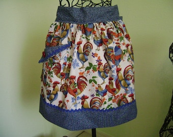 Apron Rooster  Handmade Country Rooster reversable half apron