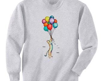 Cat Balloon Ride Art Men's Sweatshirt Small - 2XL