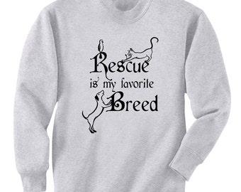 Rescue Is My Favorite Breed Dog Cat Bird Art Men's Sweatshirt Small - 2XL