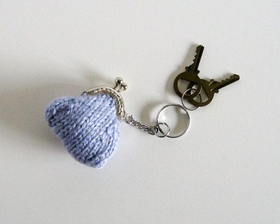 Keychain - Tiny Coin Purse Knitted in Lavender Wool