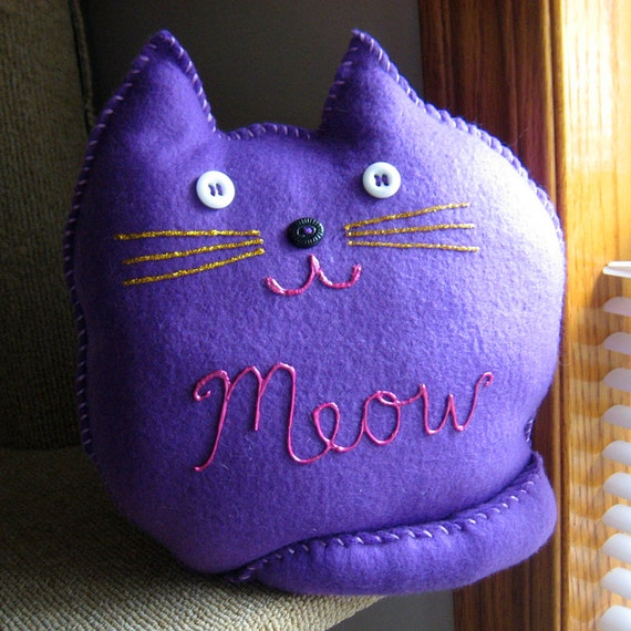 Purple and Pink Meow Kitty Pillow