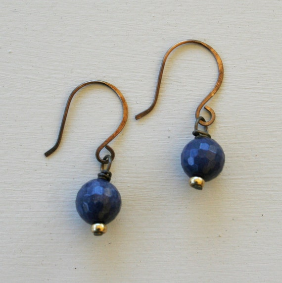 Paz Earrings - Faceted Periwinkle Blue Jade or Pyrite and Antique Brass
