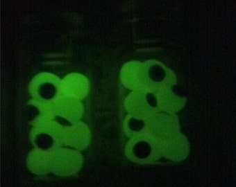 EYEBALLS GLOW in the Dark Potion Bottle Earrings Miniature Halloween Witch Jewelry Prop