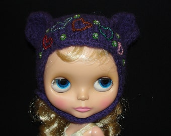 Grape Purple Bear HeadHugger -  for neo-Blythe and same-sized friends