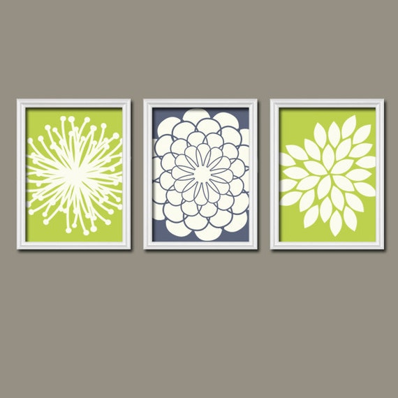 Wall Art Canvas Artwork Lime Green Navy Ivory Flower Burst Dahlia Bloom Petals  Set of 3 Trio Prints  Decor   Bedroom Bathroom Three