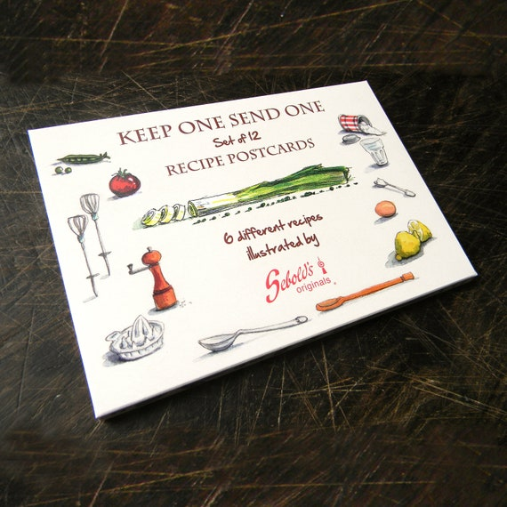 Postcards  Set of 12 Recipies Hand Illustrated