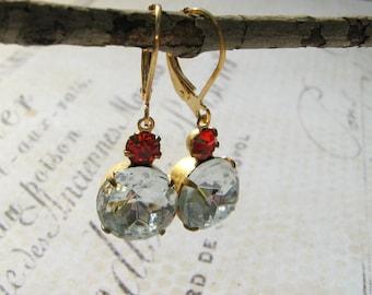 Red Rhinestone Earrings, Clear and Red Siam, Lever Back, Vintage Estate Glass Earrings, Winter Bride, Winter Wedding, Christmas Earrings