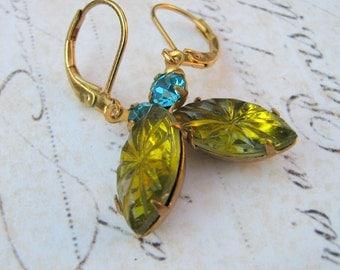 Estate Earrings, Aquamarine and Peridot Glass Dangle Earrings, Vintage Glass Rhinestone Lever Back Earrings, Navette Earrings
