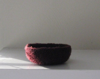 Felted Mini Bowl in Aubergine - In Stock - Ready to Ship
