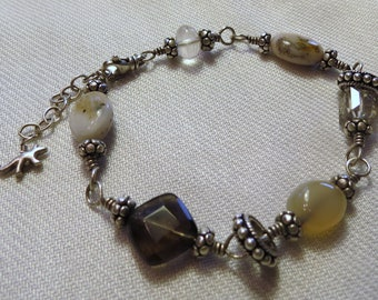 Little Fox Multi Gem and Silver Wire Wrapped Bracelet