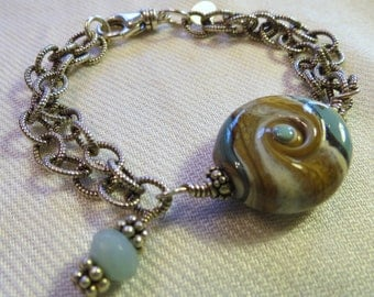 Beachy Blues Lampwork glass and sterling chain bracelet