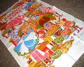 Vintage MOD Graphic 60s Colorful Barbados Market Kitchen Tea Towel by Jill Walker
