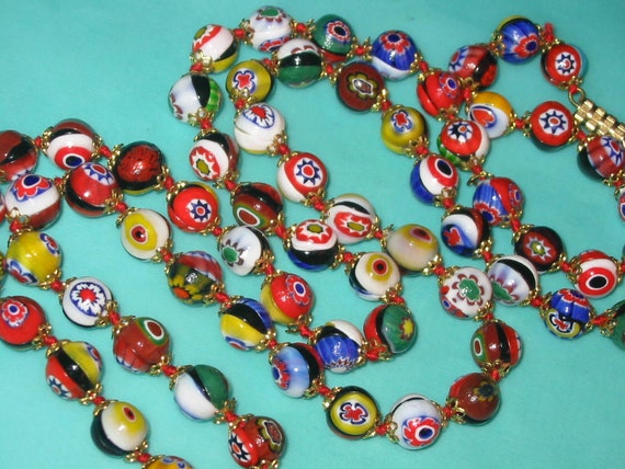 Vintage Red and Multi-Color Italian Murano Millefiori Long Glass Bead Necklace