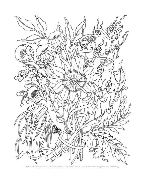 Adult Coloring Pages Floral Bouquets Set Of 8 By Emerlyearts